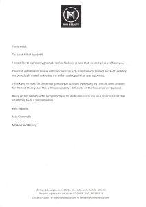 MG testimonial for Ward Hill