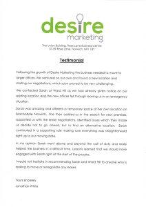 Desire Marketing testimonial for Ward Hill